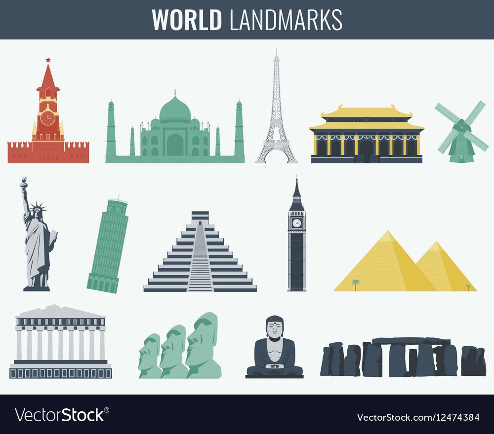 World landmarks flat icon set Travel and Tourism