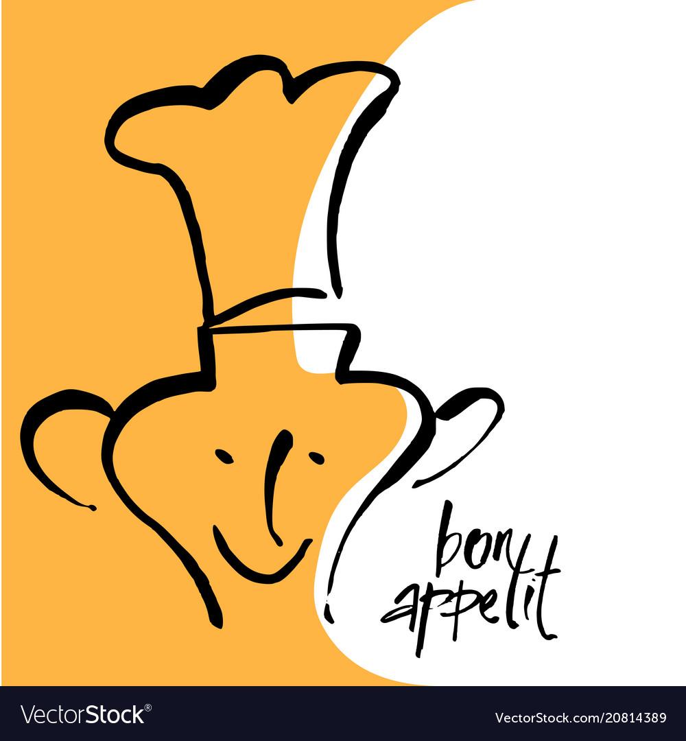 Bon appetit lettering template vector image