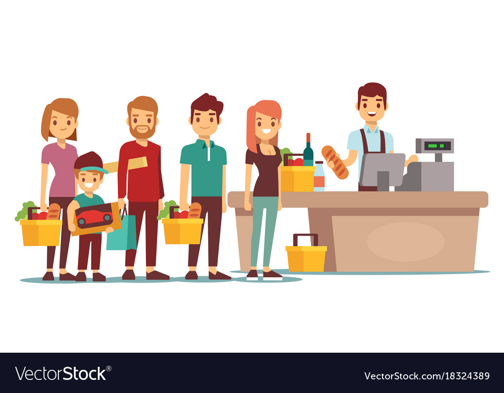 Customers people queue at cash desk with cashier