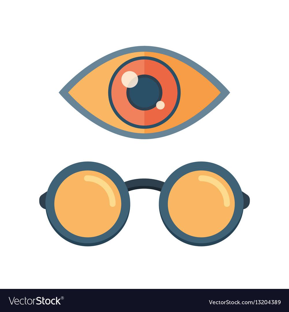 Fashion glasses and eye symbol vector image
