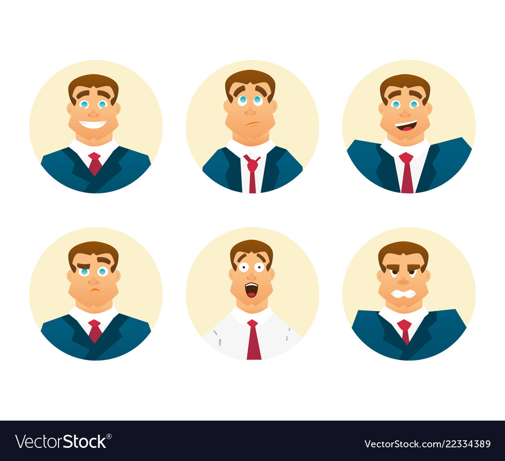 Funny cartoon character set of businessman