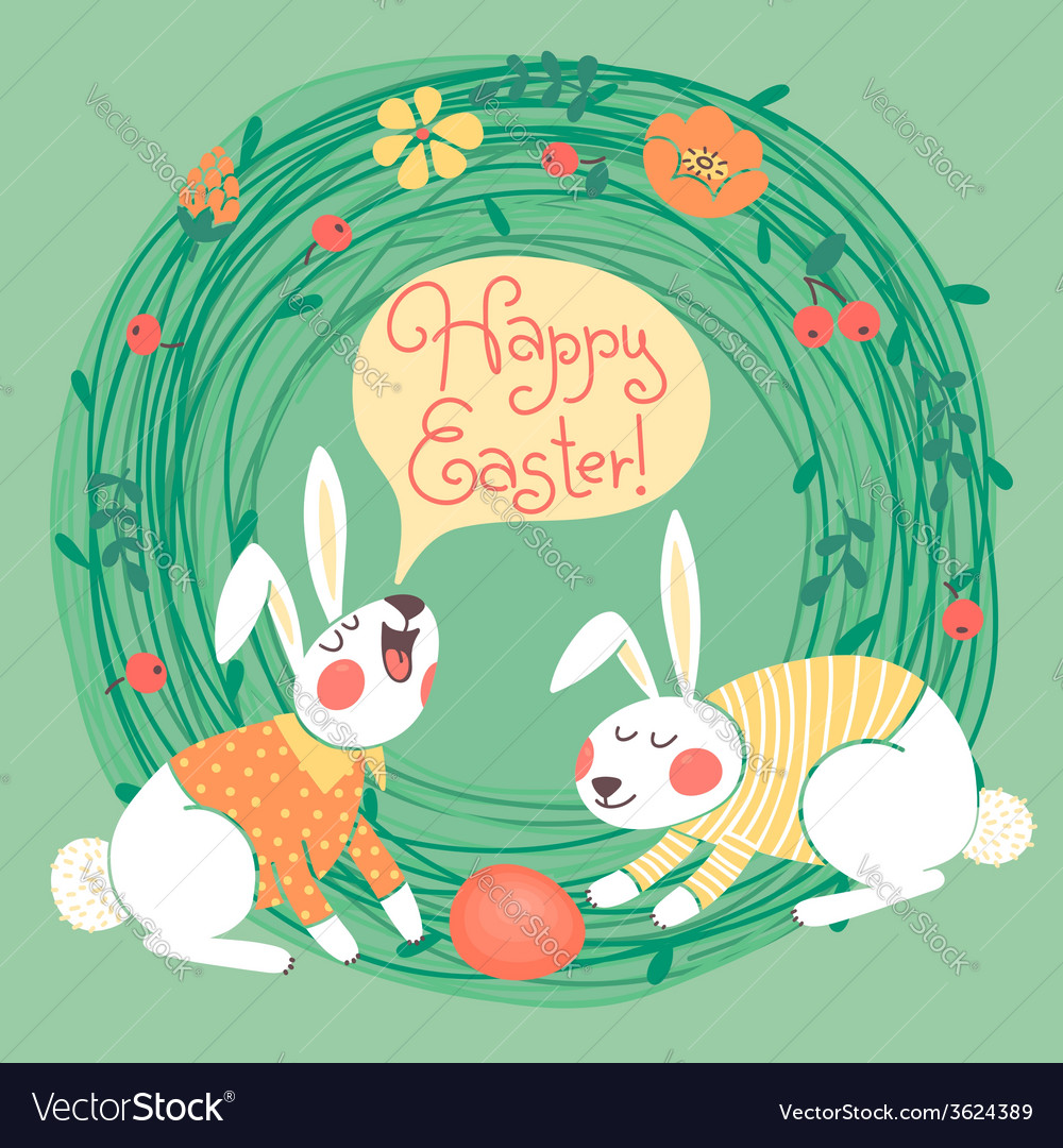 Happy Easter card with cute bunnies