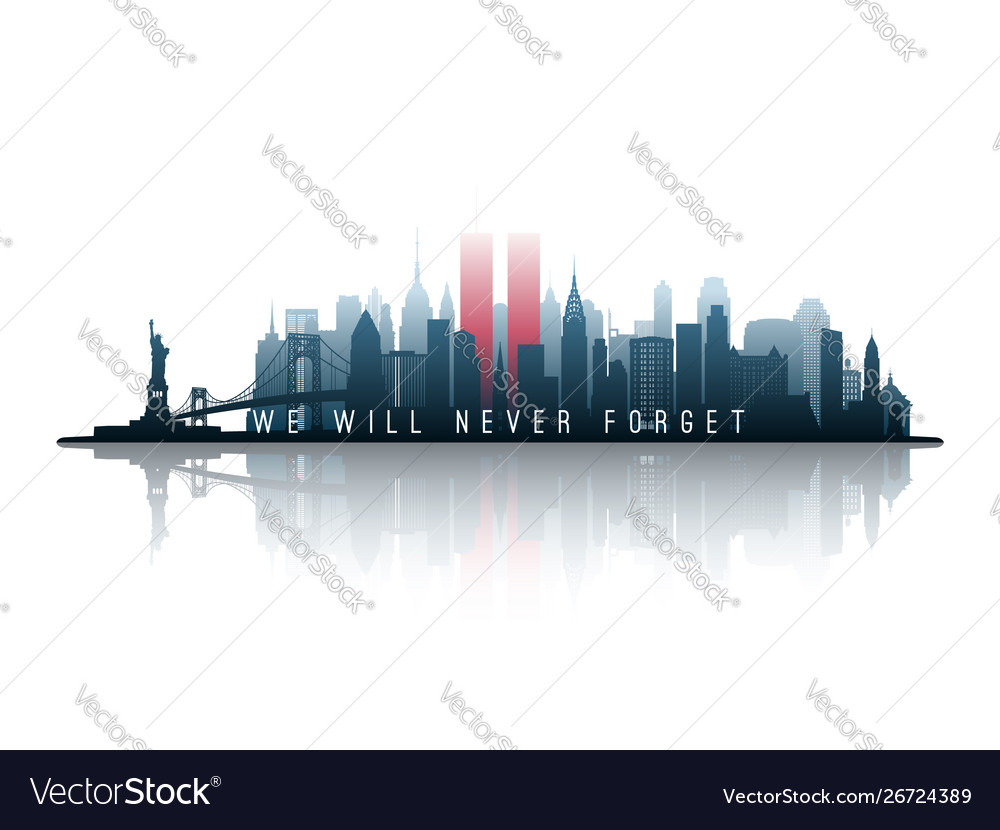 New york skyline silhouette with twin towers