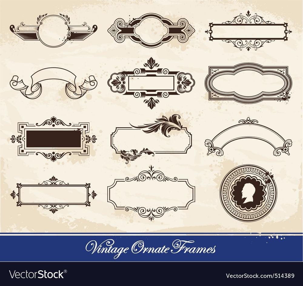 Vector set of vintage frames vector image