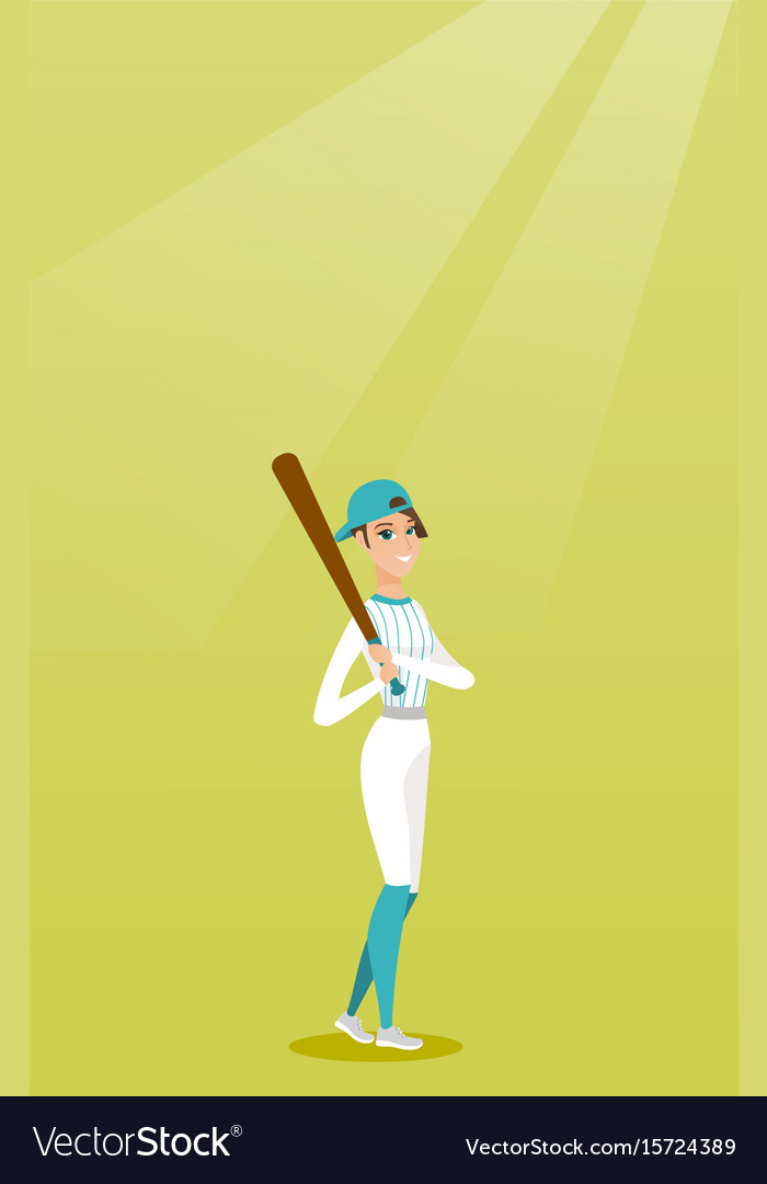 Young caucasian baseball player with a bat