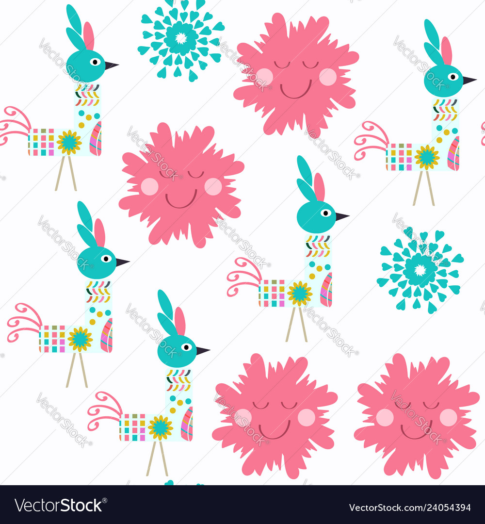 Abstract floral seamless birds pattern it is