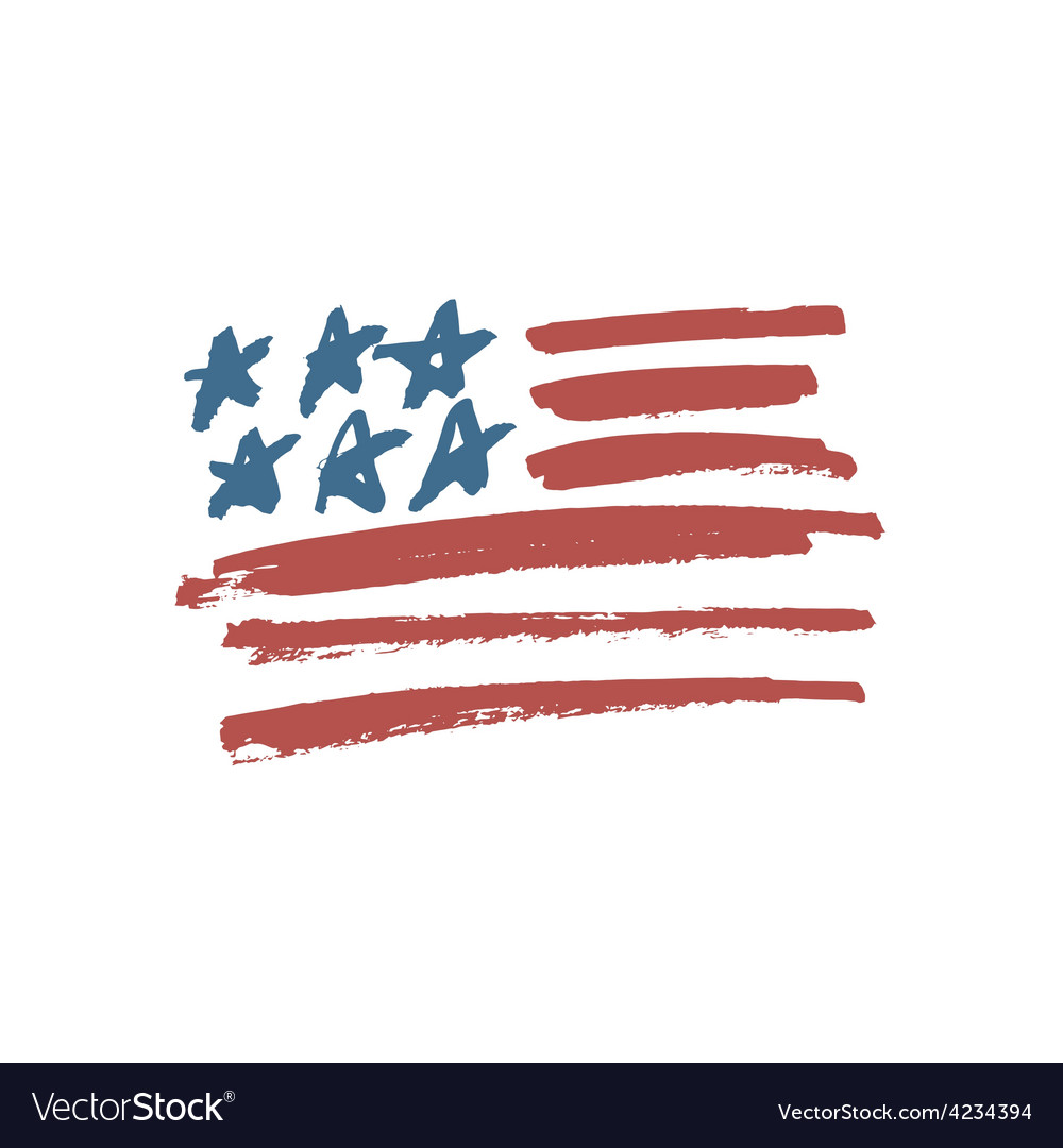 American flag brush vector image