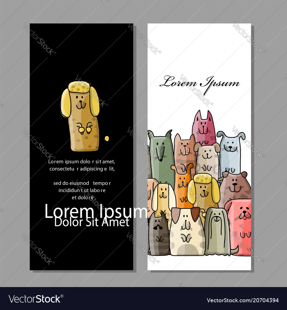 Business cards design funny dogs family Royalty Free Vector