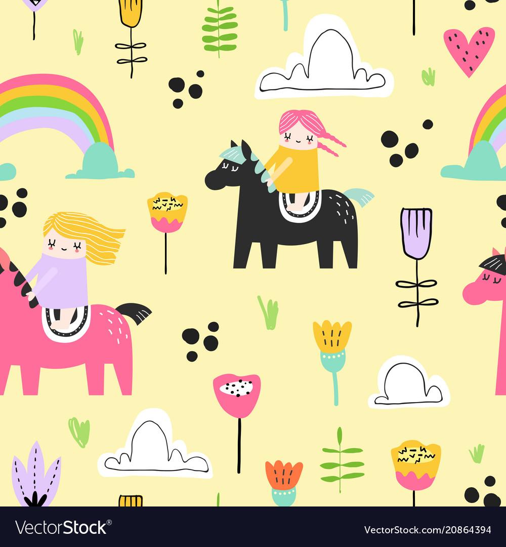 Childish seamless pattern with cute girls on pony