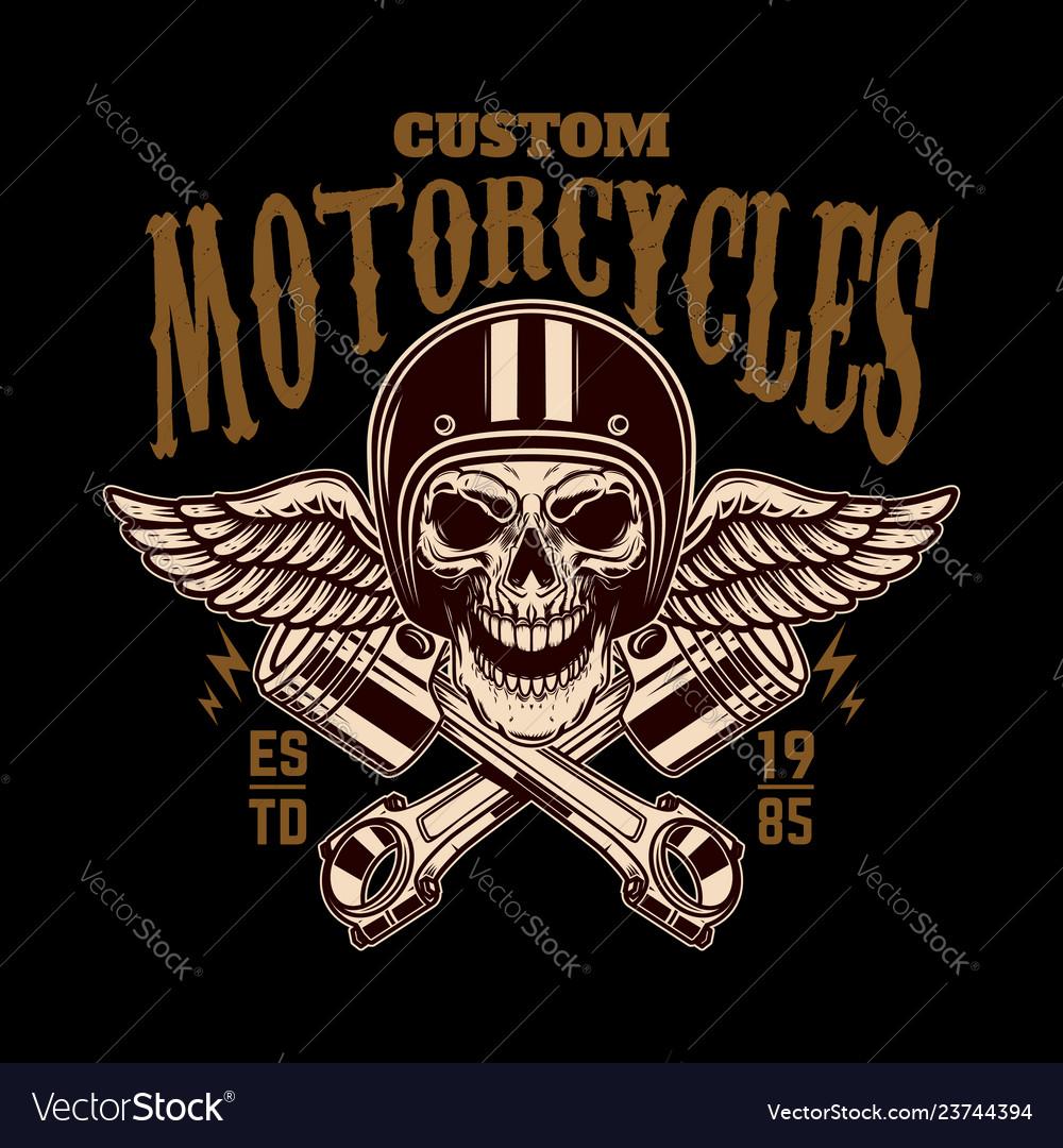 Custom motorcycles vintage racer skull in winged