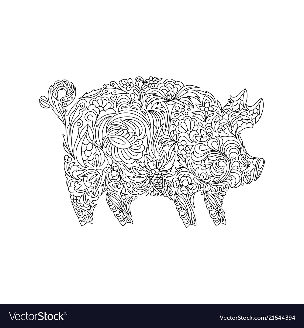 Drawing zentangle pig for coloring book for adult
