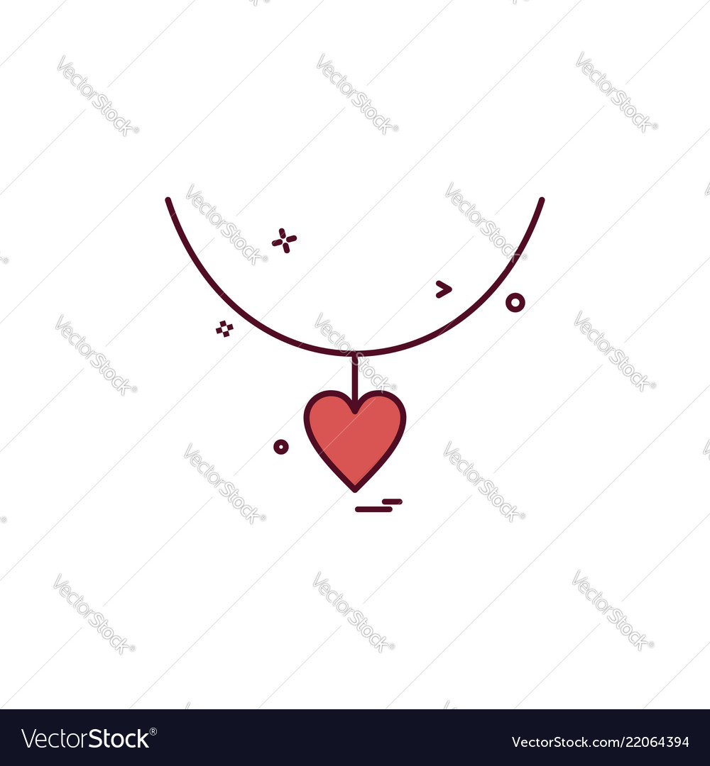 Heart love gift necklace icon design