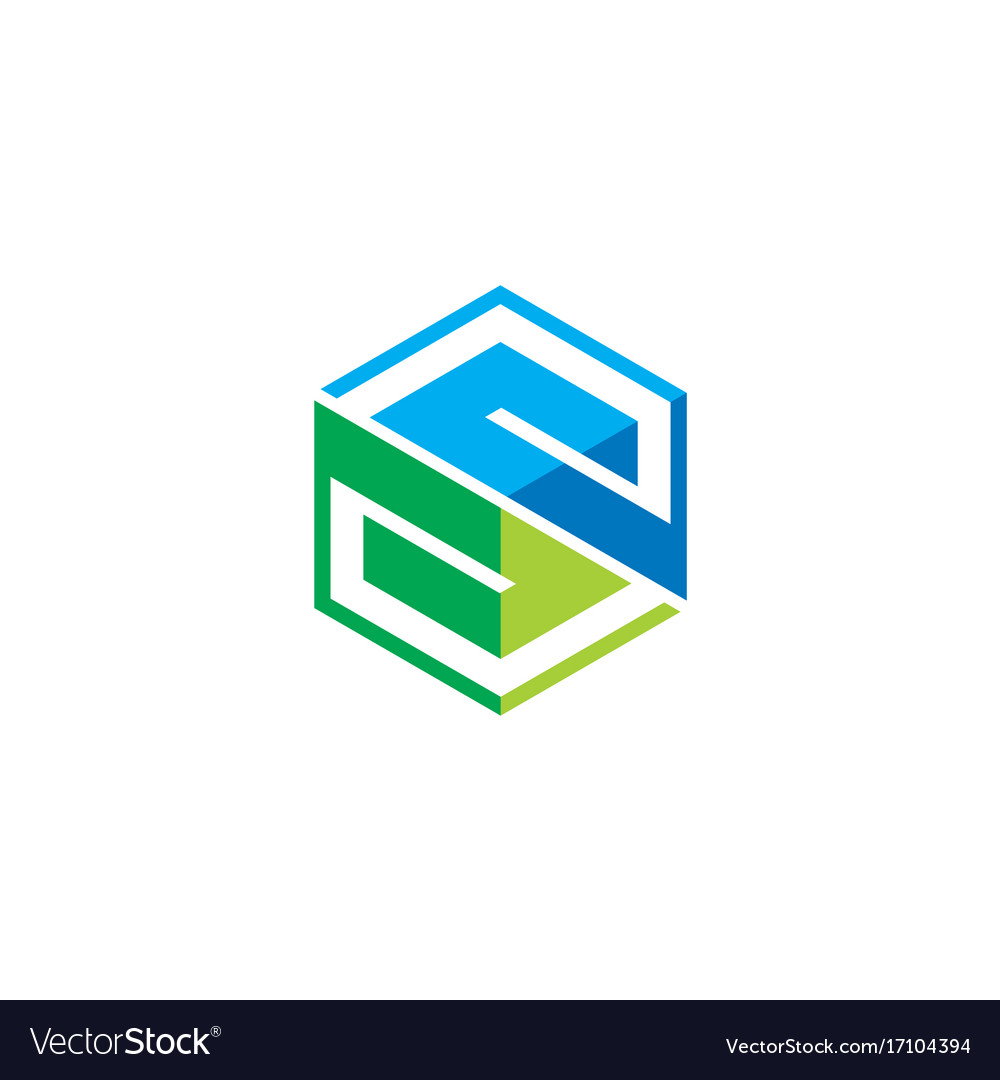 Letter s abstract cube technology logo
