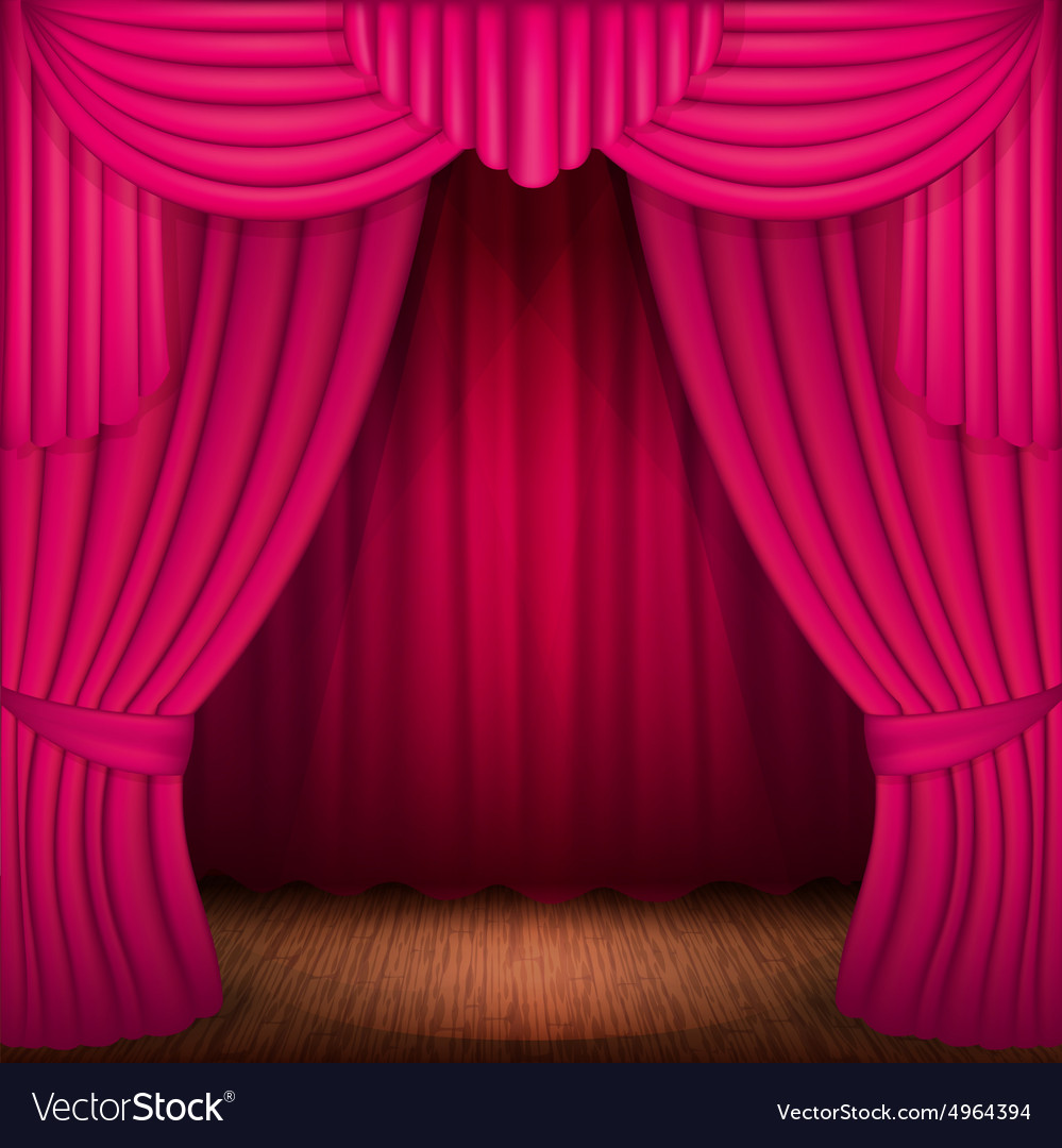 Pink Curtains Vector Image