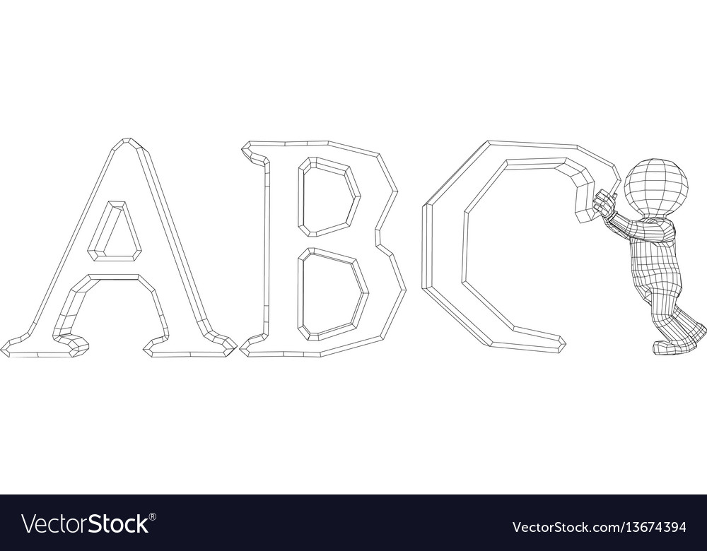 Puppet 3d man with abc
