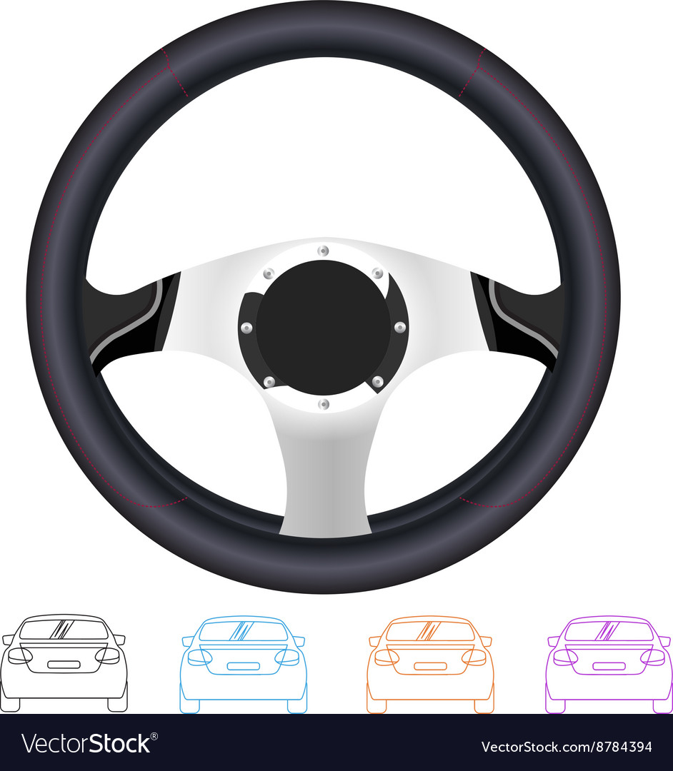 Realistic steering wheel and set of outline back