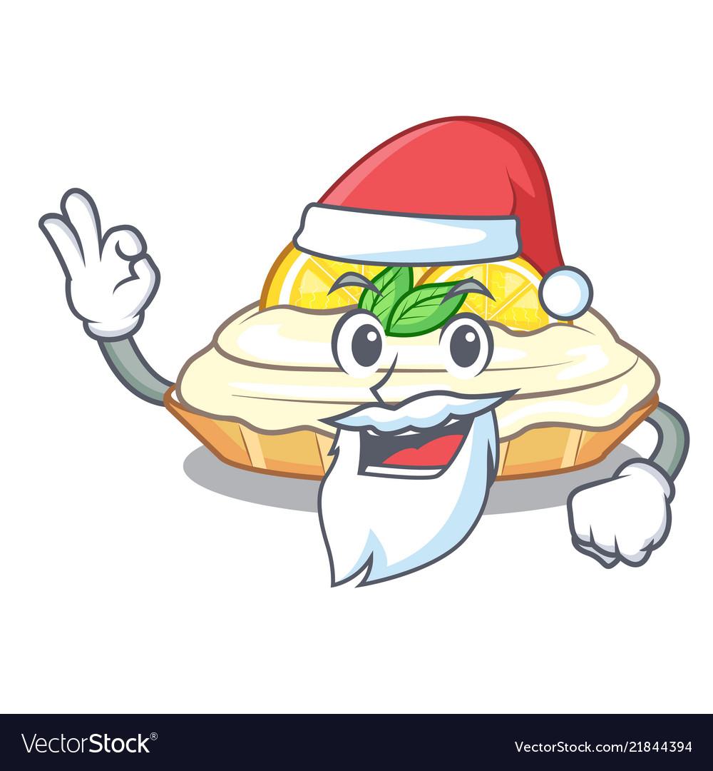 Santa Mascot Delicious Homemade Lemon Cake With Vector Image