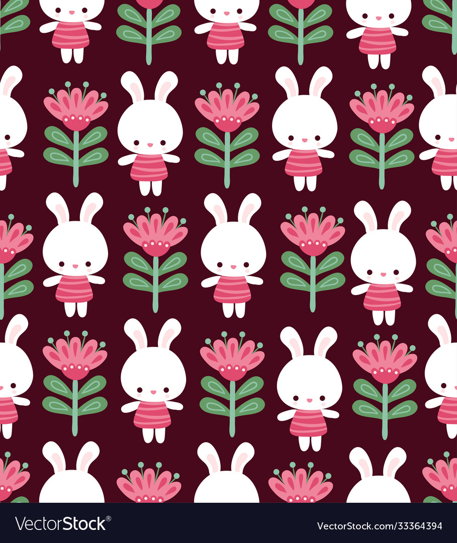 Seamless with cute rabbits on