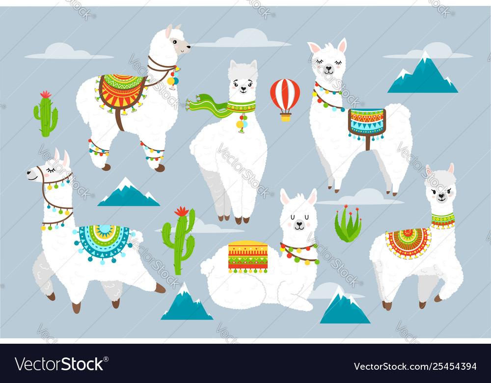 Set cute llama and alpaca with cactuses