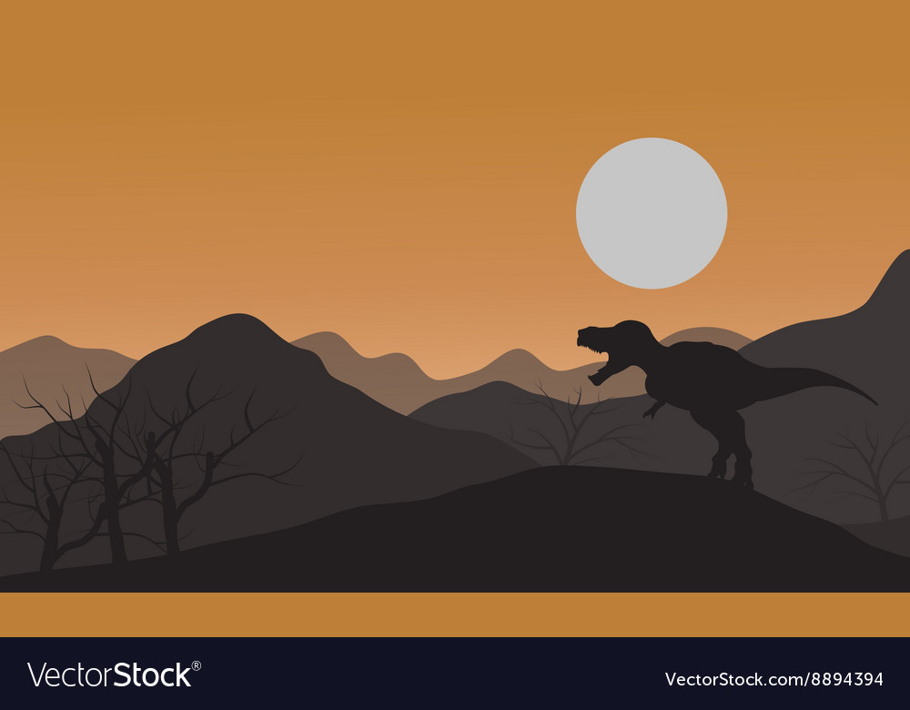 Silhouette of one tyrannosaurus in hills