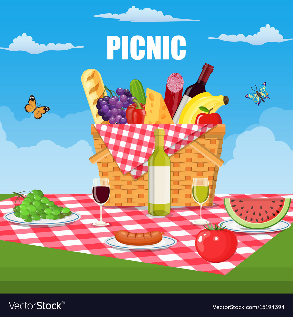Summer picnic concept with basket