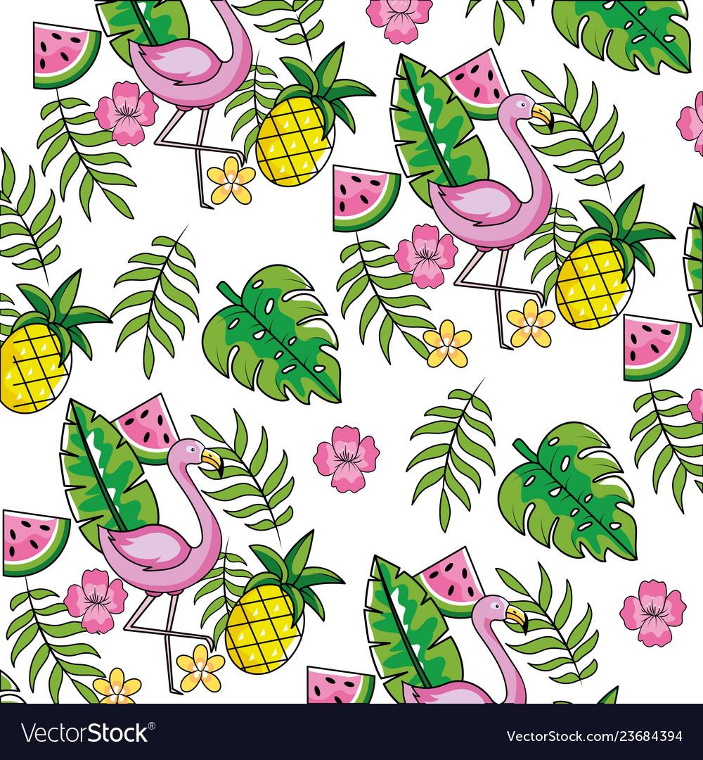 Tropical summer semaless pattern cartoon