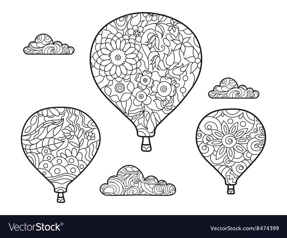 Aeronautic balloon coloring book for adults