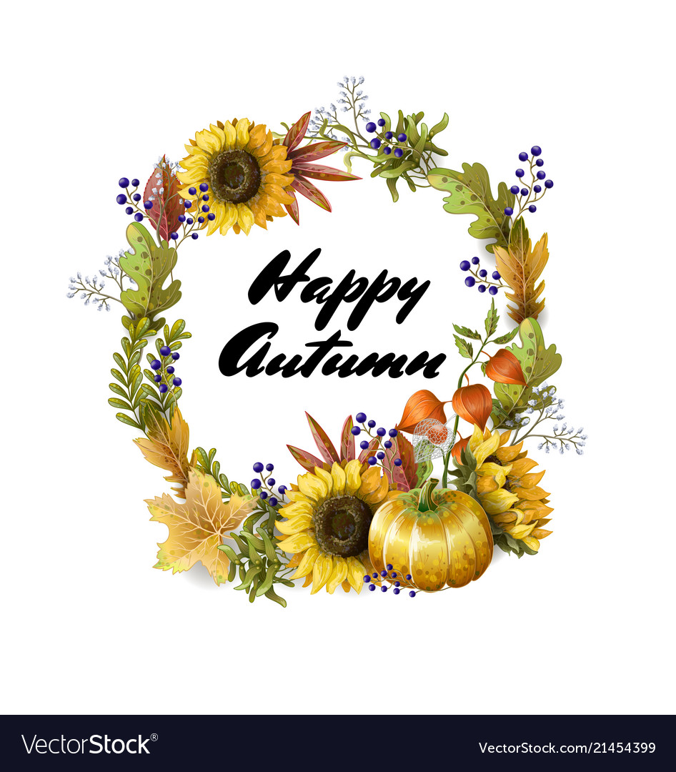Banner of happy autumn with yellow leave