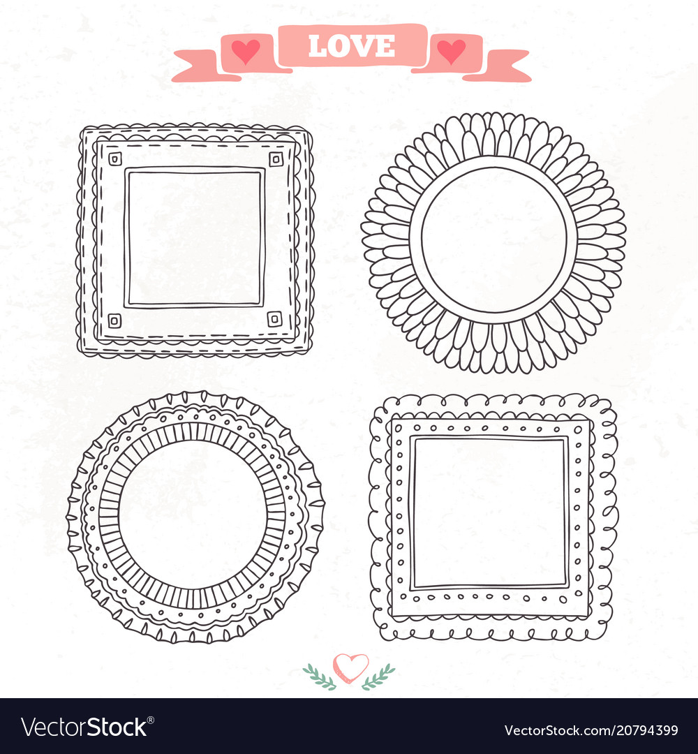 Beautiful template hand drawn frames Royalty Free Vector