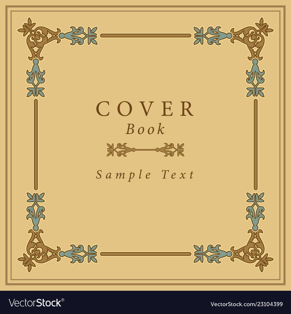 Book cover with retro ornamental gold frame