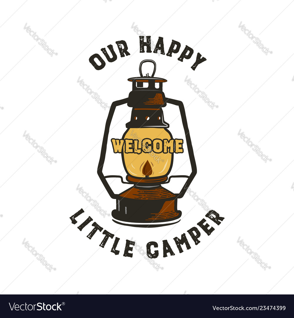 Camping badge design - our happy little camper