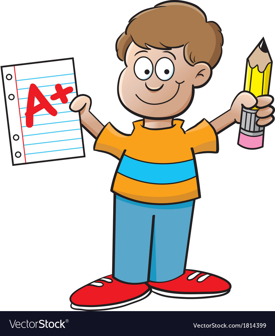 Cartoon boy holding a paper and pencil
