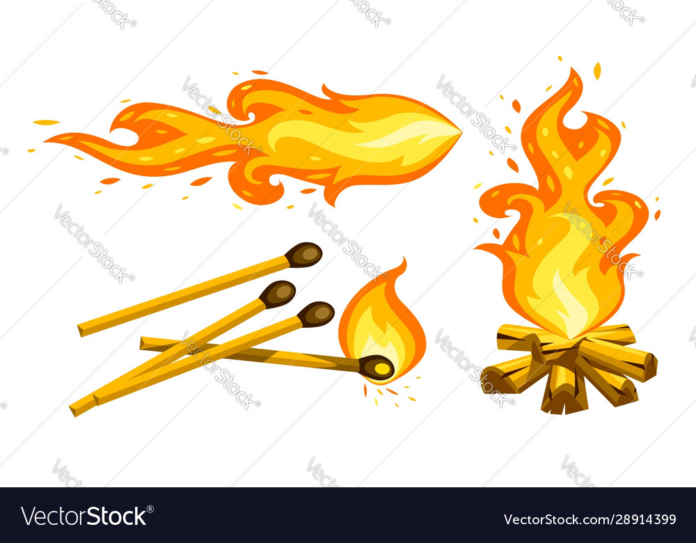 Cartoon touristic campfire
