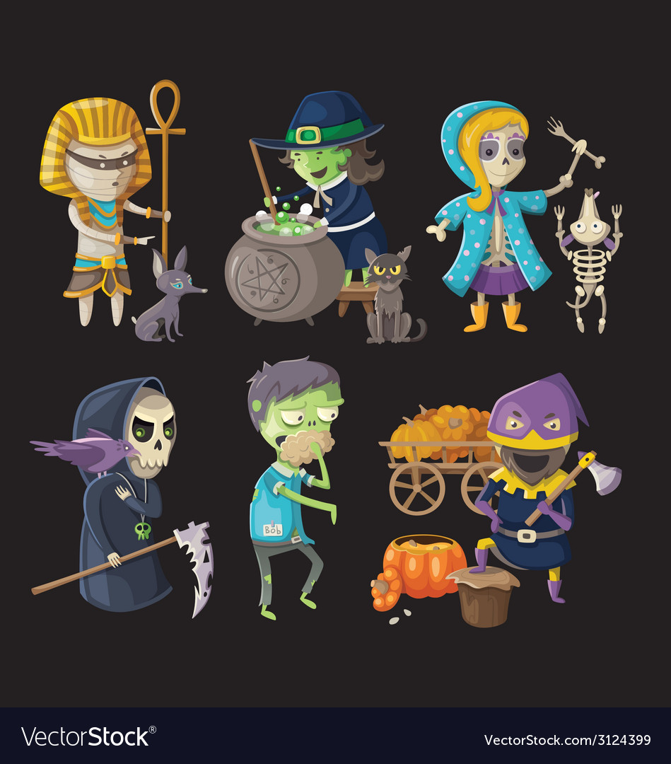 Costumes and halloween characters