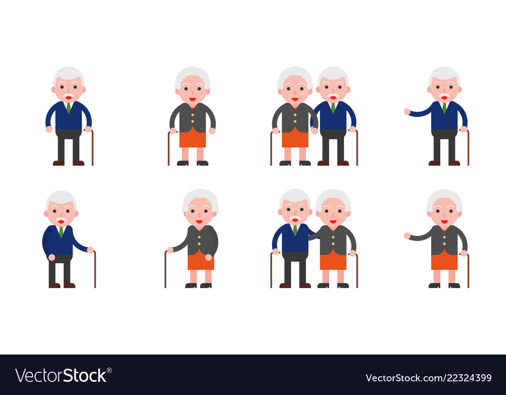 Elderly grandma and grandpa couple icon flat
