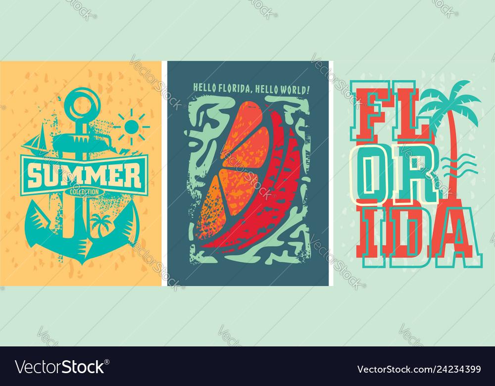 Florida beach summer apparel designs set