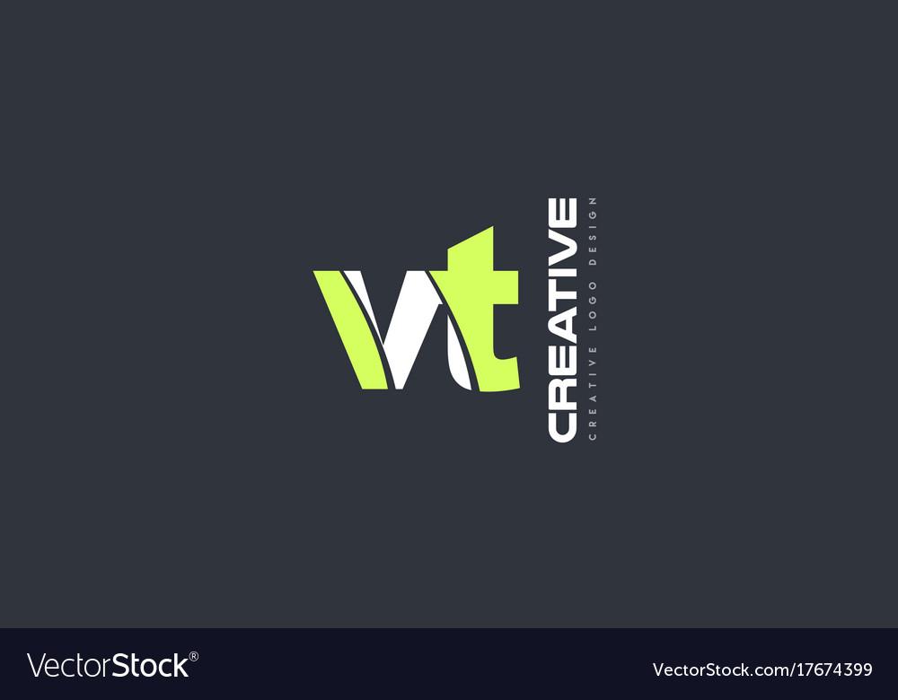 Green letter vt v t combination logo icon company