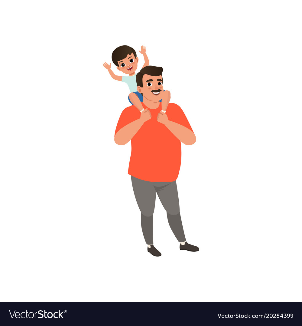 Happy dad carrying son on his shoulders loving vector image