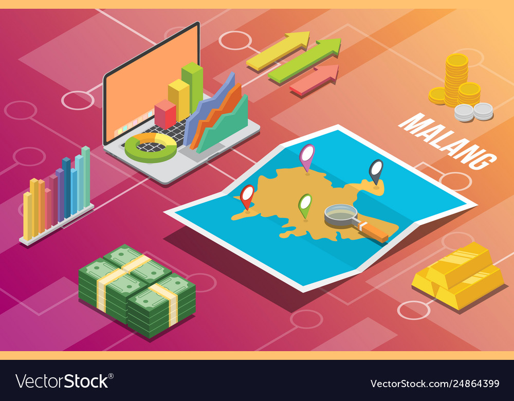 Malang Indonesia Java City Isometric Financial Vector Image