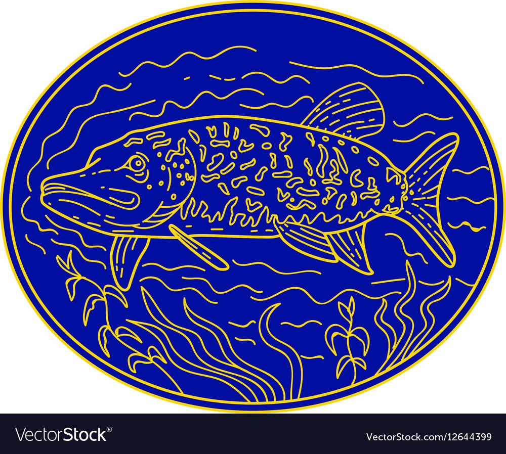 Northern Pike Fish Oval Mono Line vector image