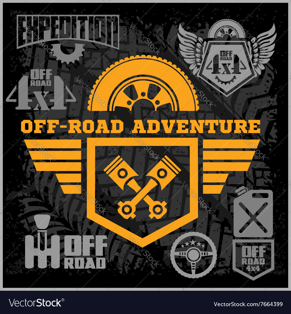 Off Road Suv Car Emblems Badges And Icons Off Vector Image