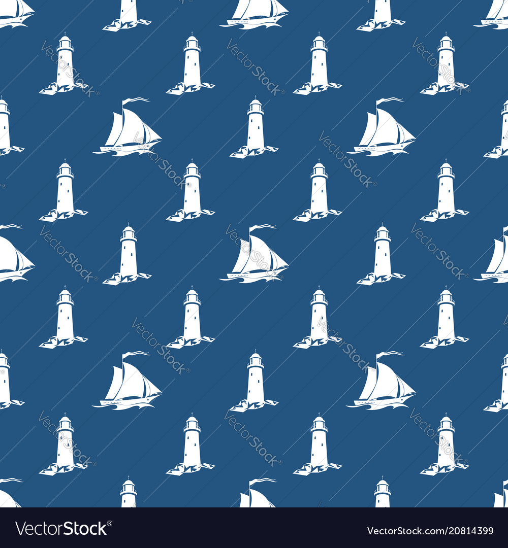 Seamless blue and white maritime pattern