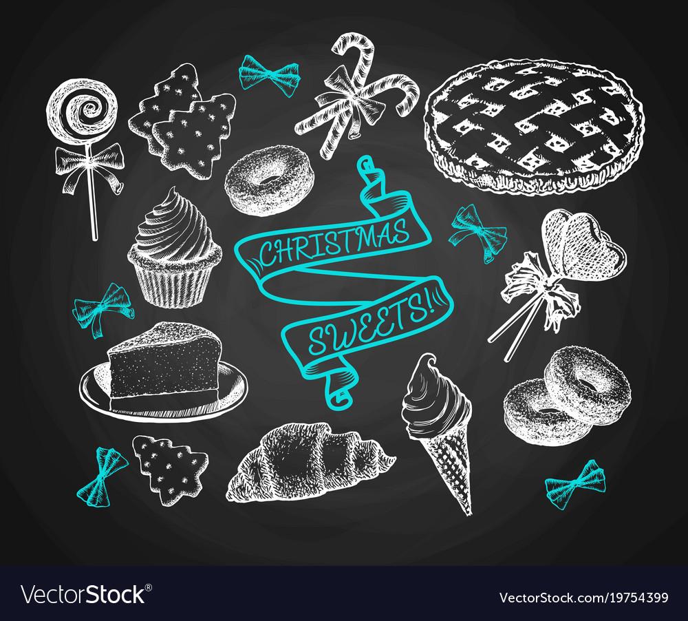 Sweets set sketch on chalkboard background