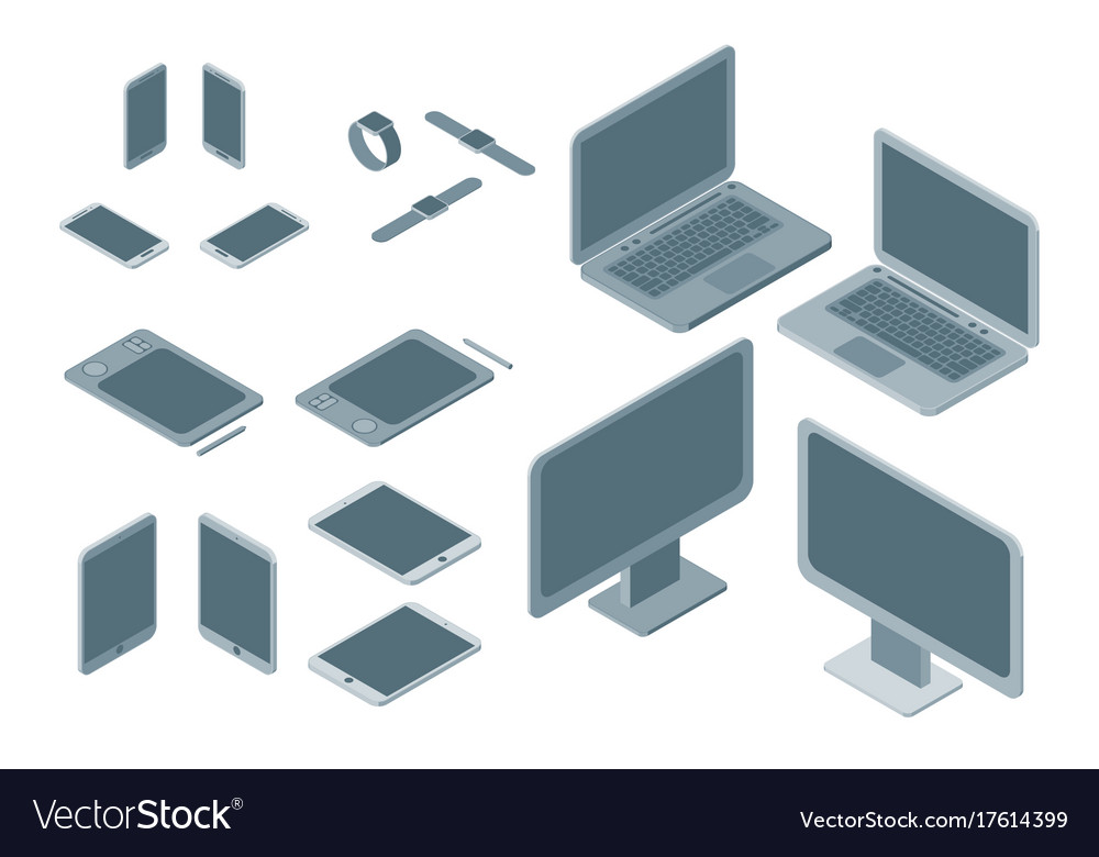 Technology devices set isometric view