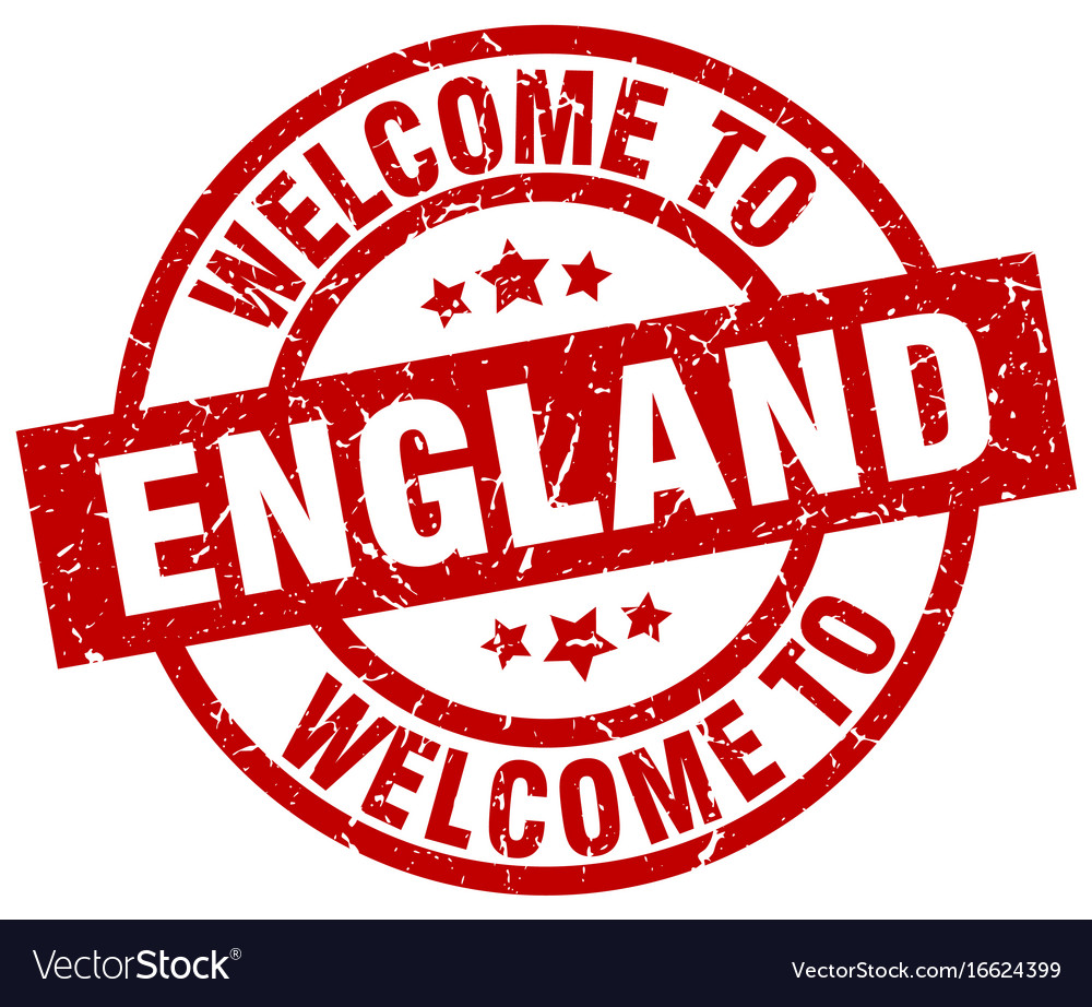 Welcome to england red stamp