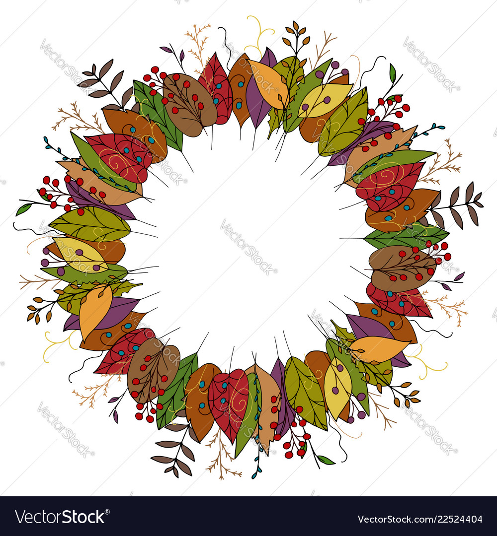 Autumn wreath made of doodle leaves