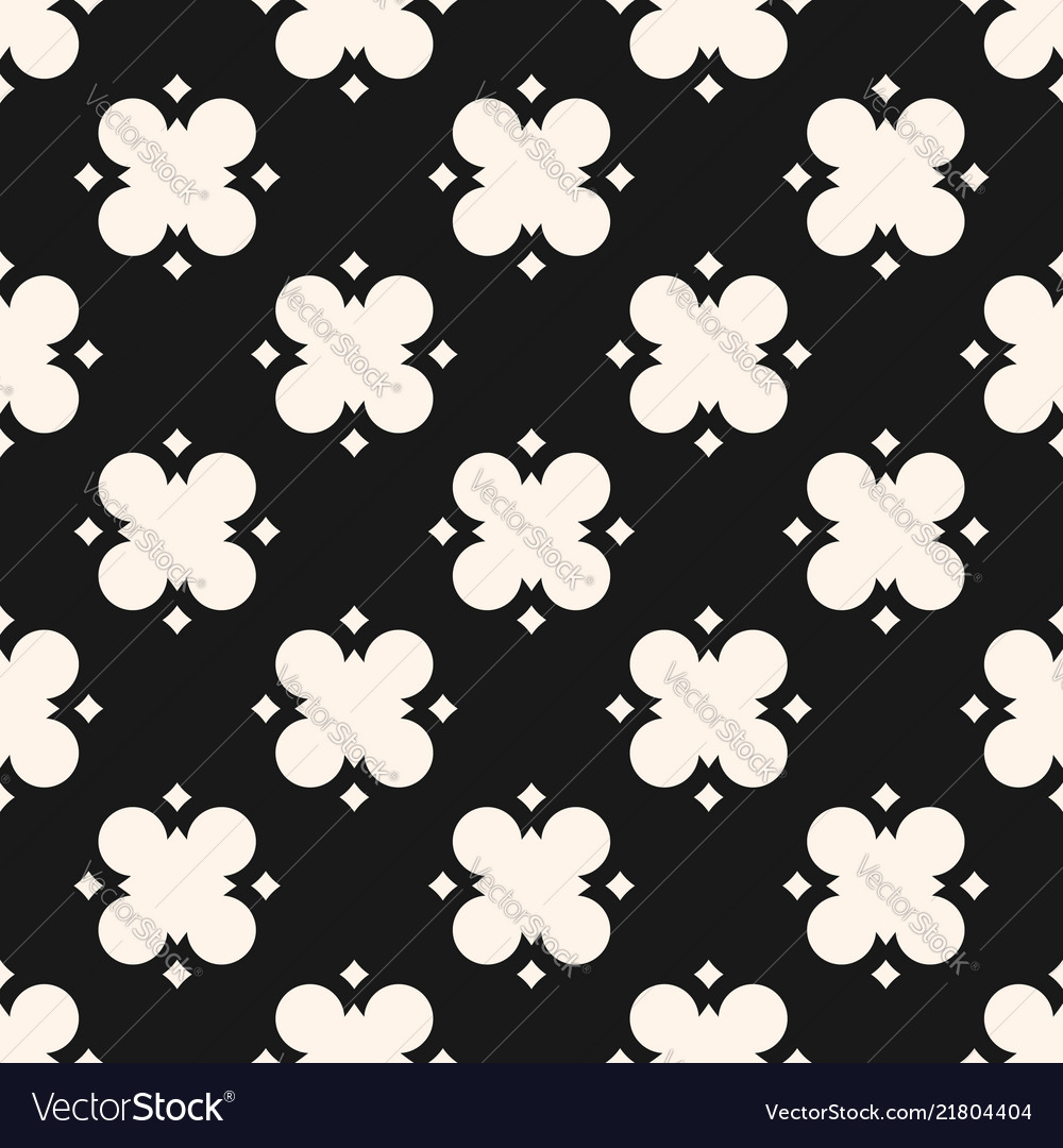 Black and white geometric floral abstract pattern