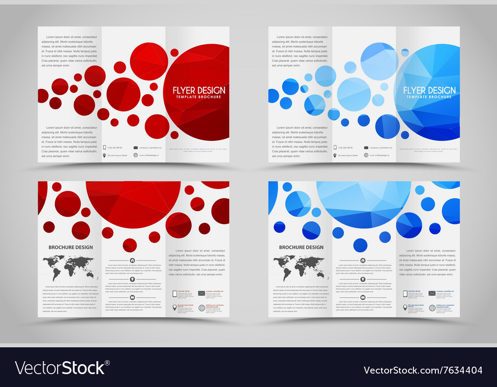 design folding brochures with polygonal elements vector image