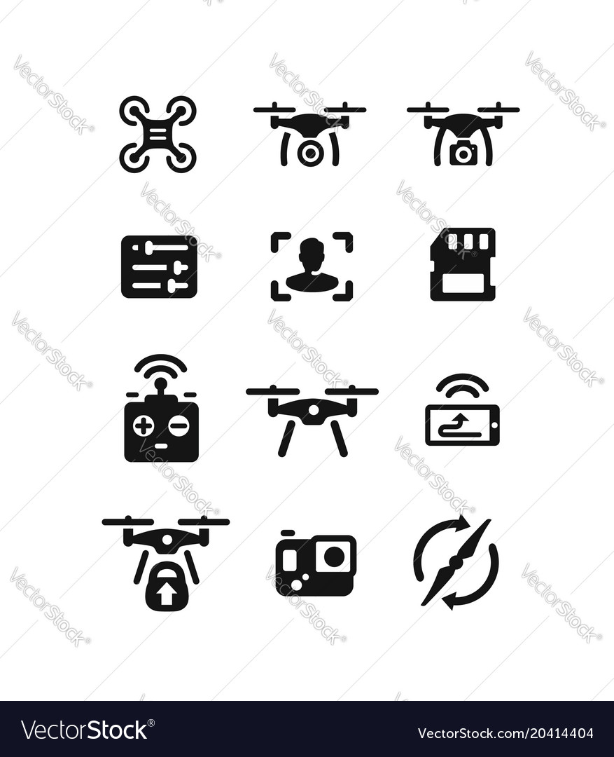 Flying drone icons