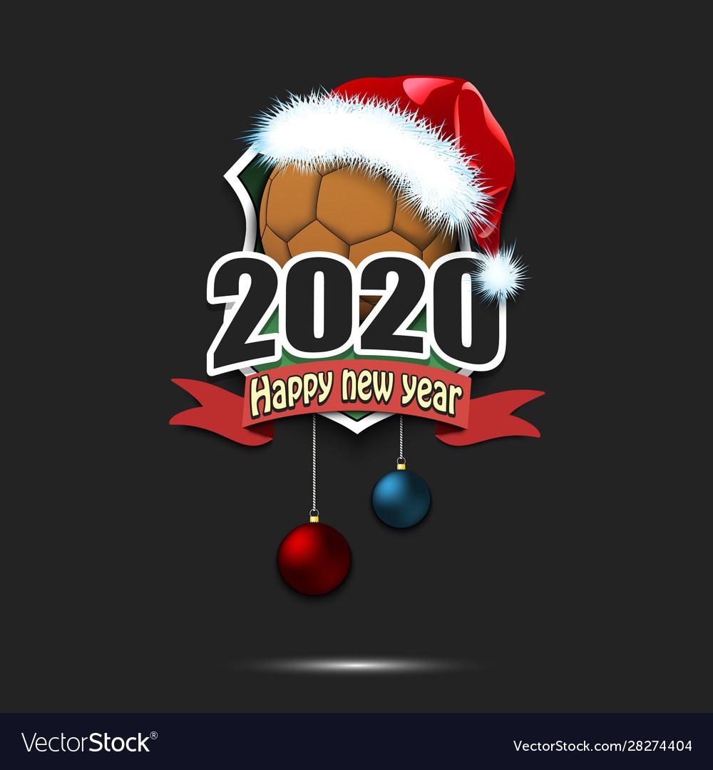 Happy New Year 2020 And Handball Ball In Santa Hat